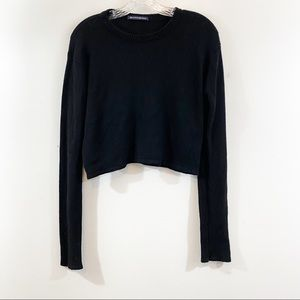 Brandy Melville Black Wool Blend Cropped Sweater
